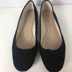 Ann Taylor Black Suede Leather Ballet Flats 7.5M